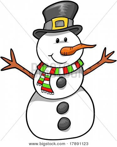 Christmas Holiday Snowman Vector Illustration