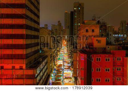 Famous Night Market At Temple Street, Hong Kong