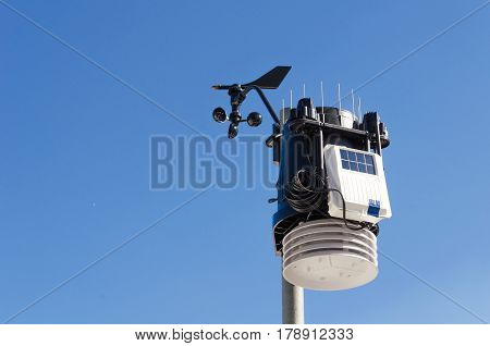 anemometer meteorology kit, wind meter with blue sky.