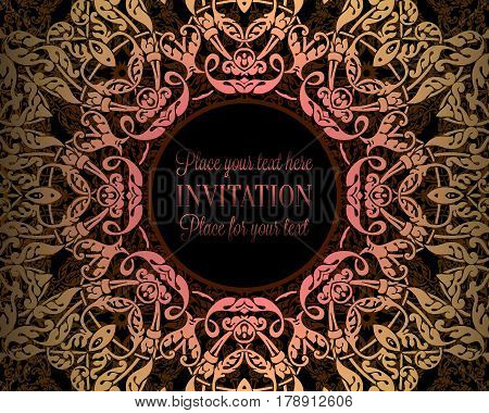 Luxury Ornament, Lace In Pink, Gold And Yellow Colors With Vintage Frame, Victorian Style Invitation
