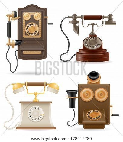 phone old retro set icons stock vector illustration isolated on white background