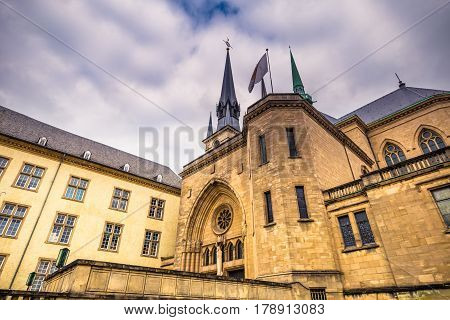 Luxembourg City, Luxembourg - October 22, 2016: Notre-dame Cathedral Of Luxembourg City