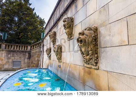 Luxembourg City, Luxembourg - October 22, 2016: Fountain In Luxembourg City