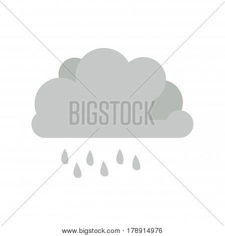 monochrome cumulus cloud with raindrops vector illustration