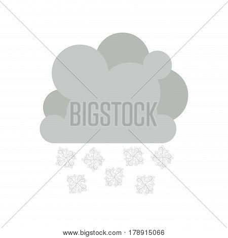 monochrome cumulus cloud with snowflakes rain vector illustration