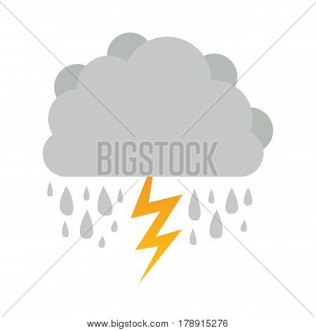 cumulus cloud with rain and thunder vector illustration