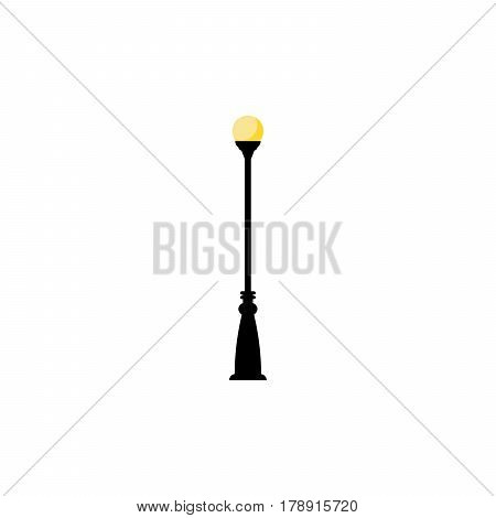 Vintage streetlight symbol. Vector retro object with one lamp isolated on white background
