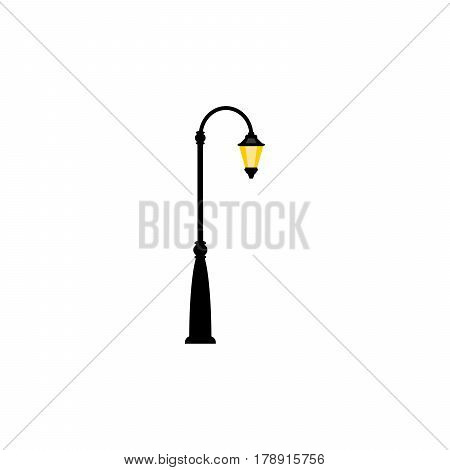Vintage streetlight symbol. Vector retro object with one lamp on the right side, isolated on white background