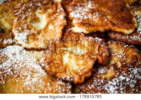 Many Sweet Tasty Grandma's Apple Crumpets With Sugar. Brown Smelly Dessert