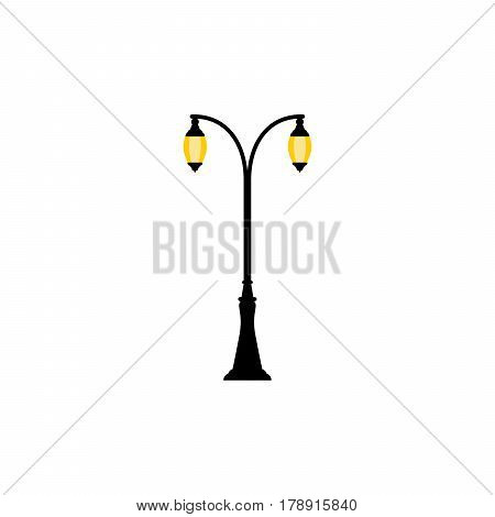 Vintage streetlight symbol. Vector retro object with two lamps isolated on white background