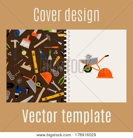 Cover design for print with construction pattern. Vector illustration