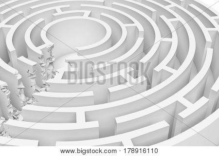 3d rendering of a white round maze with a direct route cut right to the center in close up view. Puzzles and problems. Unexpected solutions. Mazes and labyrinths.