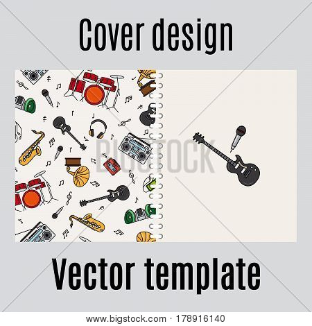 Cover design for print with music instrument pattern. Vector illustration