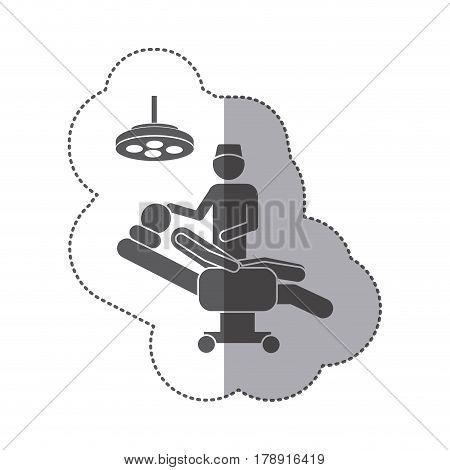 sticker monochrome pictogram person with surgeon vector illustration