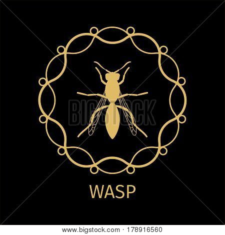 Label with wasp in calligraphy framework on dark background. Vector illustration