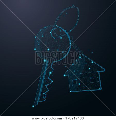 Key with house keychain abstract cosmic design vector illustration