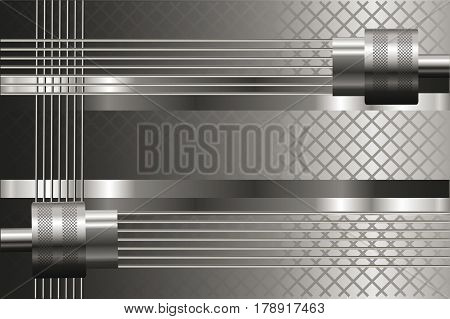 Silver background with mechanical details.  Metallic luster.