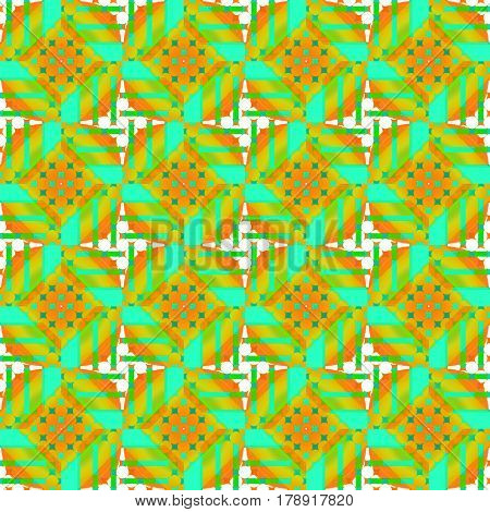 Abstract geometric seamless retro background. Regular circles and diamond pattern in orange and green shades with white elements, ornate and conspicuous.