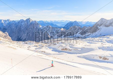 Zugspitze Glacier Ski Resort in Bavarian Alps Germany. The Zugspitze at 2962 meters above sea level is the highest mountain in Germany
