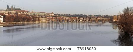 Czech Republic view of the Vltava River and Charles Bridge