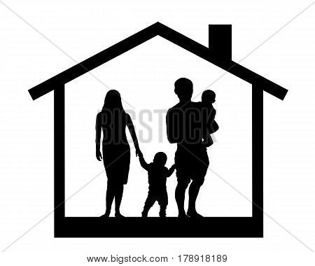 Silhouette of a family with children in the house vector illustration