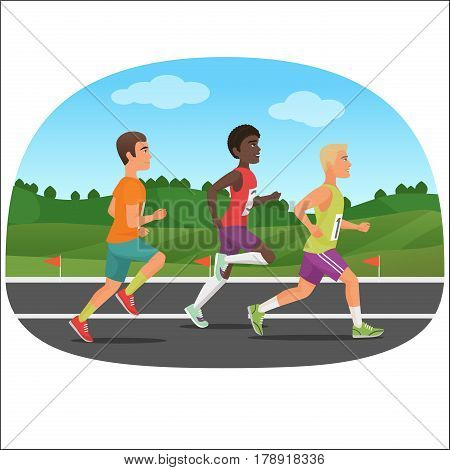 Three young sport man Running Outdoor. Jogging people marathon. White and black people running together