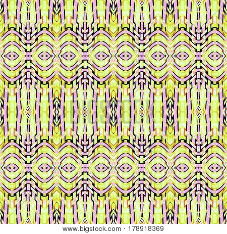 Abstract geometric seamless background. Regular ellipses and stripes pattern in yellow green, violet and light brown shades with black outlines, ornate and extensive netting.