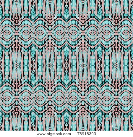 Abstract geometric seamless background. Regular intricate ellipses pattern turquoise, aquamarine and pink with black outlines, ornate and extensive.