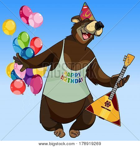 cartoon character happy bear with a balalaika on holiday