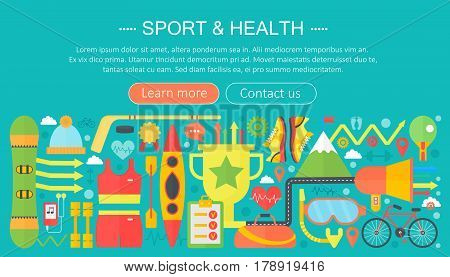 Healthy lifestyle concept with food and sport icons. Sport and fitness flat concept infographics template header design. Vector illustration