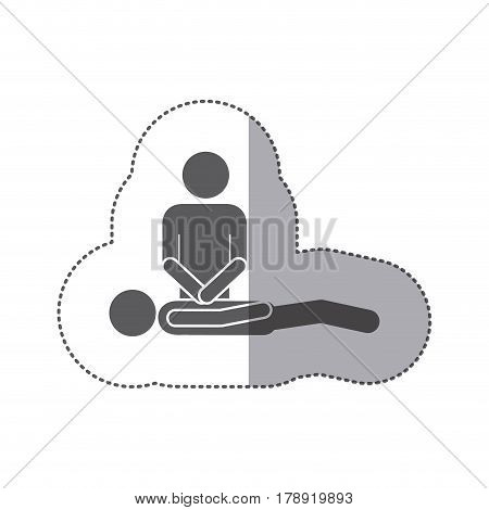 sticker silhouette pictogram rescue and helper patient vector illustration