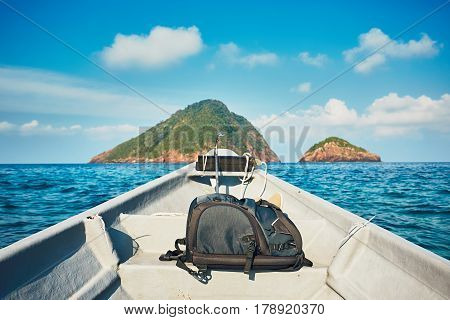 Adventure on the sea. Motorboat on the journey to Perhentian islands Malaysia