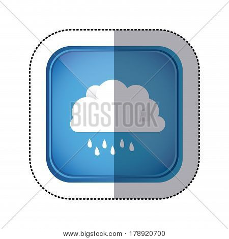 sticker colorful square frame and blue background with cloud with drizzle vector illustration