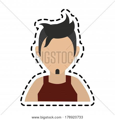 faceless man with dark hair goatee and sleeveless top icon image vector illustration design