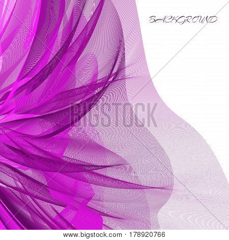 Abstract background with place for text. Purple guipure cloth. Design for invitations greeting cards. Vector illustration.