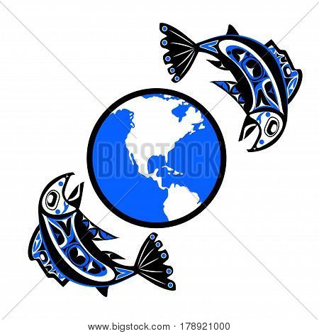 native salmon Vector fish in red on white background with native ornaments and world