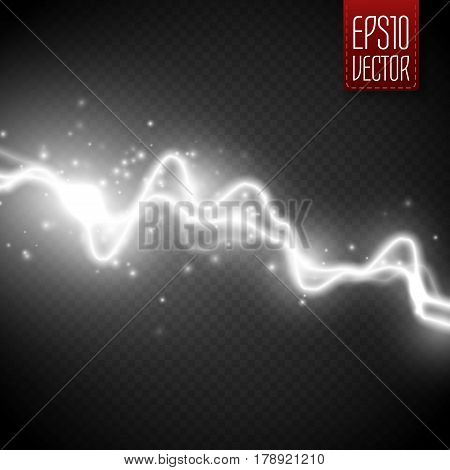 White abstract energy shock effect with many glowing particles. Electric discharge isolated on transparent background. Vector Lightning