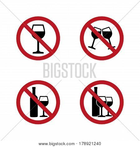 No alcohol Signs set with wine and wineglass. Vector