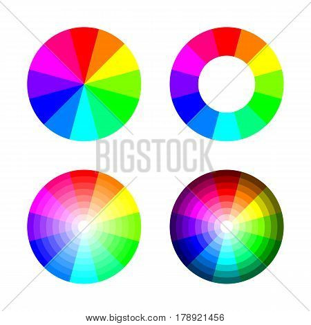 Set of color wheel 12 color rgb on white background, vector illustration