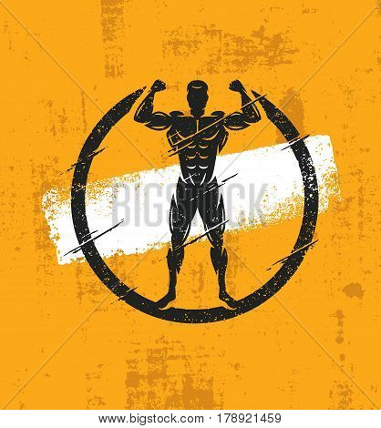 Strong Man Athlete Fitness Workout Rough Illustration. Creative Vector Grunge Poster Concept.
