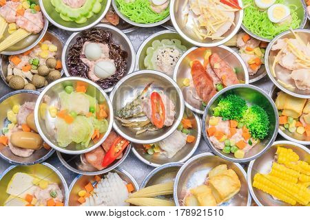 Various kinds of dim sum including dumplings traditional chinese food. a kind of local breakfast of Chinese-Thai people who live in Southern part of Thailand