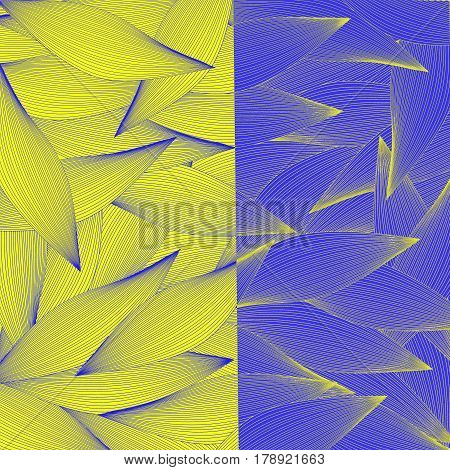 Dual abstract yellow and blue pattern with striped leaves - raster illustration