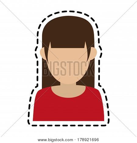 faceless woman with hair fringe icon image vector illustration design