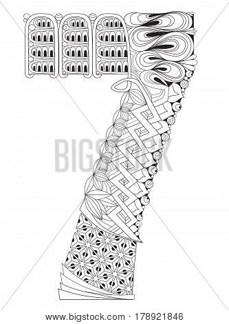 Hand-painted art design. Adult anti-stress coloring page. Black and white hand drawn illustration for coloring book. Number seven zentangle object .