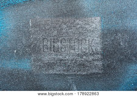 Blue Cosmetics Powder Texture with white Square. Creative Background