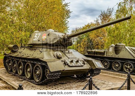 Belgorod Russia - October 08 2016: Soviet medium tank of world war II T-34 on the outdoor area of the Museum diorama.