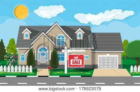 Private suburban house, for sale sign, trees, sun, road, sky and clouds. Real estate, sale and rent house. Vector illustration in flat style