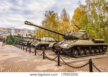 Belgorod Russia - October 08 2016: Outdoor area of the Museum diorama exhibition samples of Soviet military equipment during the second world war. In the foreground heavy tank IS-2.