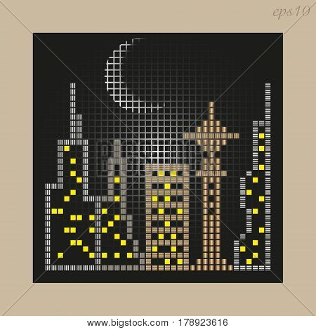 Mosaic City drawing Abstraction author design night city sky moon ornament house multi-storey telecentre window light stock vector illustration