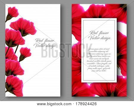 Vector botanical vertical banners with red flower. Design for natural cosmetics health care products. Can be used as greeting card or wedding invitation. Set floral vintage card